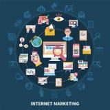 Internet que comercializa alrededor de la composición stock de ilustración