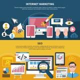 Internet que comercializa a SEO Horizontal Banners stock de ilustración