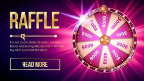 Internet Raffle Roulette Fortune Banner Vector. Shiny Raffle Casino Spinning Wheel For Game And Win Jackpot Online Lottery Marketing Concept. Realistic Style royalty free illustration