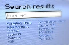 Internet-Rechercheresultate Lizenzfreies Stockfoto