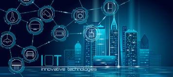 Internet rede de arame esperta poli da cidade 3D das coisas da baixa Conceito de construção inteligente da automatização IOT Em l ilustração royalty free