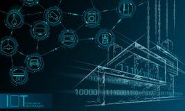 Internet rede de arame esperta poli da cidade 3D das coisas da baixa Conceito de construção inteligente da automatização IOT Em l ilustração stock
