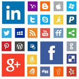 Internet related social logos Royalty Free Stock Images