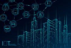Internet rete metallica astuta bassa della città 3D di cose di poli Concetto di costruzione intelligente di automazione IOT Onlin illustrazione vettoriale