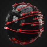 Internet rojo telegrafía el recubrimiento de la esfera de alta tecnología el ejemplo conceptual 3d del cable de Ethernet y rj-45  Imagen de archivo libre de regalías