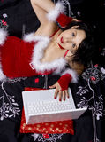 Internet romance. Girl with laptop Royalty Free Stock Photo