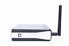 Internet router. Black wireless internet router in isolated white background Stock Photos