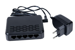 Internet router and Power supply Stock Photos