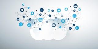 Internet rzeczy, Cloud Computing projekta poj?cie z ikonami zdjęcia stock
