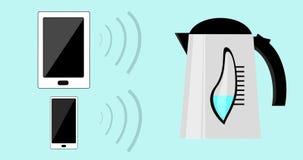 Internet rzeczy IOT †'gospodarstwo domowe kontrolny WiFi, przyrząda i urządzenia z smartphone, pastylka pecet łączył ilustracji