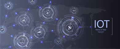 Internet rzeczy IoT i networking pojęcie dla związanych przyrządów zdjęcie royalty free