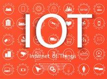 Internet rzeczy IoT i networking pojęcie dla związanych przyrządów Ikona set obrazy stock