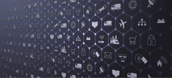 Internet rzeczy IoT i networking pojęcie dla związanych przyrządów Pająk sieć sieć związki zdjęcia stock
