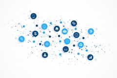 Internet rzeczy IoT i sieć związku pojęcia projekta wektor Mądrze cyfrowy pojęcie royalty ilustracja