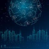 Internet rzeczy miasta 3D niska poli- m?drze druciana siatka Inteligentny budynek automatyzacji IOT poj?cie Nowo?ytny bezprzewodo royalty ilustracja