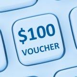 Internet s för shopping för försäljning för rabatt för 100 dollar kuponggåva online- Royaltyfria Bilder