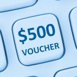 Internet s för shopping för försäljning för rabatt för 500 dollar kuponggåva online- Arkivbild