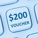 Internet s för shopping för försäljning för rabatt för 200 dollar kuponggåva online- Arkivfoto