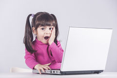 Internet safety concept. Cute little girl reacts with shock while using a laptop. Internet safety concept Royalty Free Stock Images