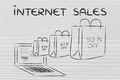 Internet sales (bags with percentage off coming out of a laptop) royalty free stock images