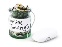 Internet Savings. Isolated money jar with a computer mouse Royalty Free Stock Photos