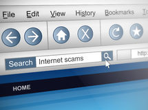 Internet scam. Illustration depicting a computer screen shot with an internet scam search concept stock illustration