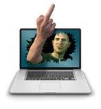 Internet-Schleppangel, die den Finger gibt Stockfotos