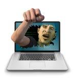 Internet-Schleppangel, die verärgert zeigt Stockfoto