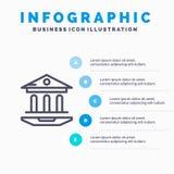 Internet, Schule, Netz, Ausbildung blaue Schritte Infographics-Schablonen-5 Vektorlinie Ikonenschablone lizenzfreie abbildung