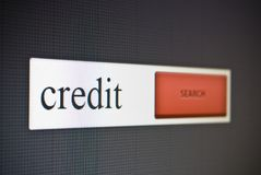 Internet search bar with phrase credit Stock Image