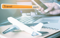Internet Search Bar for travel agency Stock Images