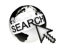Internet search concept with earth and cursor. 3D render isolated on white Royalty Free Stock Photos