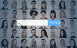 Internet search concept - search bar and people portraits Royalty Free Stock Images