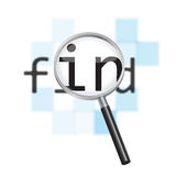 Internet search conceptual image. Magnifying glass focusing on the word 'find' against a defocused pixelated digital abstract background Royalty Free Stock Photography