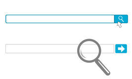 Internet Search Engine Input Box. Search engine blank input text box with magnifying glass and button vector illustration