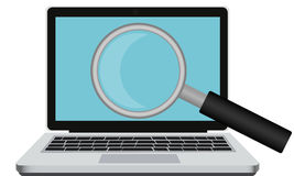 Internet search. Laptop with a magnifying glass. Vector illustration Royalty Free Stock Photo