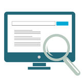 Internet Search Result. Displayed on computer with a magnifying glass for emphasis Royalty Free Illustration