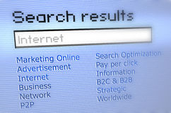 Internet Search results. A search result page shows some links in a computer it simulates a search engine result list Royalty Free Stock Photo
