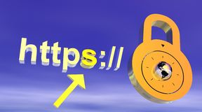 Internet secure address with padlock Royalty Free Stock Photography