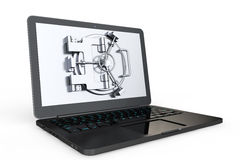 Internet Secure Concept. Laptop with Vault Door Royalty Free Stock Photo