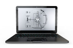 Internet Secure Concept. Laptop with Vault Door Stock Photography