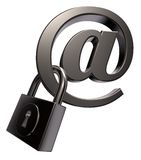Internet security. Email symbol with padlock on white background - 3d llustration Stock Photography
