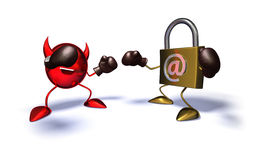 Internet security. Virus and internet lock ready to fight Stock Images