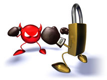 Internet security. Virus and internet lock ready to fight Royalty Free Stock Photos