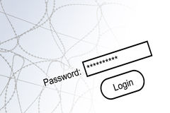 Internet security. Concept with barbed wire and password text Royalty Free Stock Images