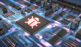Internet security and anti virus protection concept. Malware or virus inside microchip on electronic circuit. Stock Image