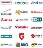 Internet security antivirus Brands Logos Stock Images