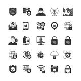 Internet Security Black Icons Set Stock Photo