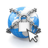 Internet security comcept. Earth and lock. Royalty Free Stock Photography