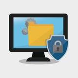 Internet security computer folder gear. Illustration eps 10 Stock Images